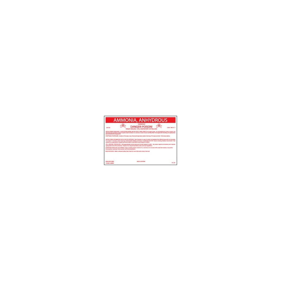 HC207P Container Labels, Ammonia Anhydrous, 6 1/2 X 10