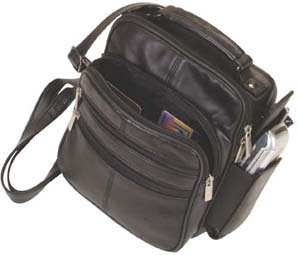 Roma Black Leather Organizer Handbag Purse
