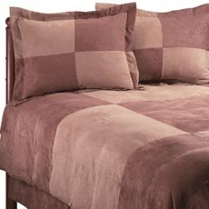 4PC Brown Microsuede Down Alternative Queen Comforter