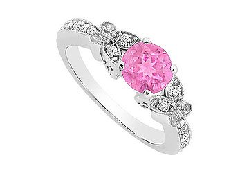 10K White Gold Created Pink Sapphire and Cubic Zirconia Engagement Ring 0.66 CT TGW