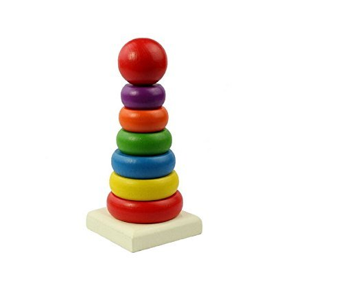 Easting Kid Baby Rainbow Tower Ring Wooden Stacking Seven Color Tower Educational Toy