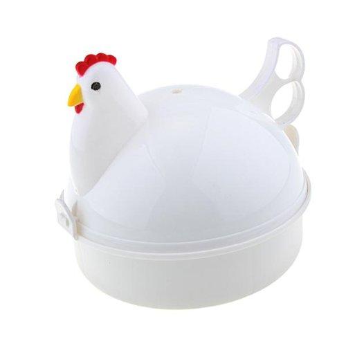 Vivreal® Chicken Shaped Plastic Microwave 4 Egg Boiler Steamer Poacher Cooker Tool