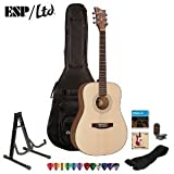 ESP LTD XTONE D-6 Natural Satin Acoustic Guitar Kit - Strap, Stand, ChromaCast Pick Sampler, DVD, Strings, Tuner and Gig Bag