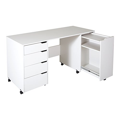 South Shore Crea Sewing Craft Table on Wheels, Pure White (Sewing Machine Cart On Wheels compare prices)