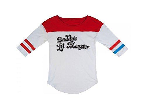 Suicide Squad Harley Quinn Daddys Lil Monster Raglan T-shirt (XXL, White) (Joker Lil Gotham compare prices)