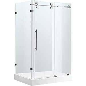 VIGO VG6051STCL48WR 36 X 48 Frameless 3 8 Clear Stainless Steel Shower