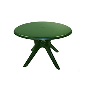 Amazon.com: KETTLER 46-Inch Round Resin Dining Table with Umbrella ...