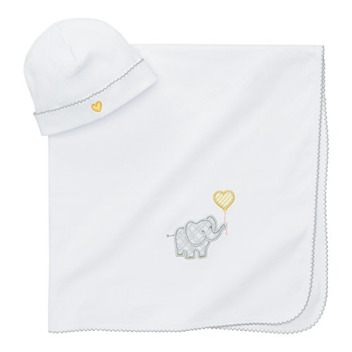 Elegant Baby 100% Cotton Interlock Receiving Blanket and Hat Gift Set, Elephant