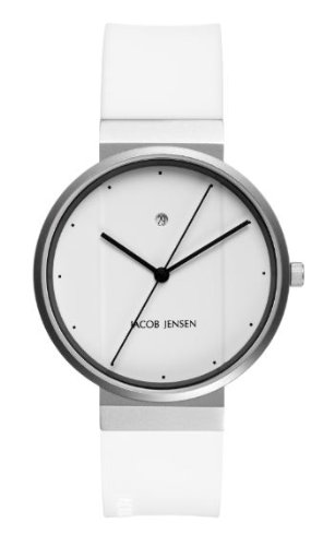 Jacob Jensen - 754 - Montre Homme - Quartz Analogique - Bracelet Caoutchouc Blanc