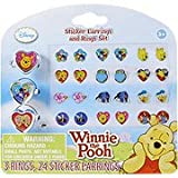 Winnie The Pooh Sticker Earrings & Ring Set - 3 rings & 24 sticker earrings,(Disney)