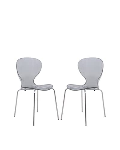 LeisureMod Set of 2 Modern Oyster Side Chairs