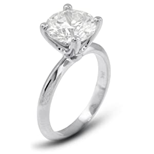 4.01 CT Very Good Cut Round H-SI1 GIA Cert Diamond Platinum Classic Solitaire Engagement Ring 4.75gr