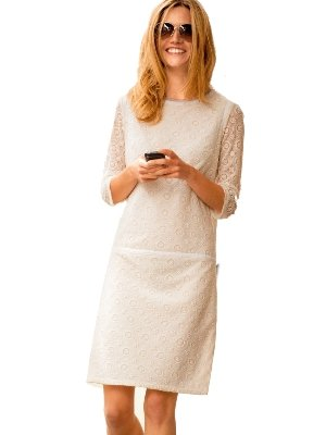 Cream Embroidered Tulle Lace Dress 3 4 Length Sleeves Size