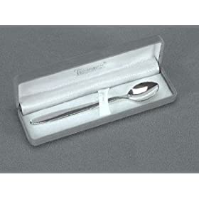 BABY FEEDING SPOON WITH GREY FLOCKED BOX - BABY FEEDING SPOON W/ GREY FLOCKED BOX, SILVER PLATED.
