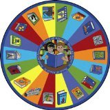 Joy Carpets Kid Essentials Language & Literacy Round Read All About It Rug, Multicolored, 7'7""
