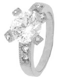 Sterling Silver Solitaire Engagement Ring With Round Cubic Zirconia in Four Prong Setting