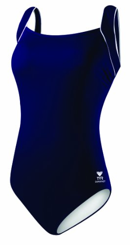 TYR Sport Women's Polyester Solid Square Neck Tank Swimsuit, Navy, 18 image