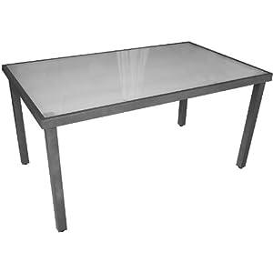 gartentisch aluminium glastisch mit satinierter glasplatte 150x90cm anthrazit weiss. Black Bedroom Furniture Sets. Home Design Ideas