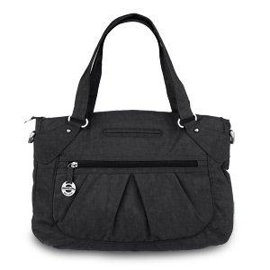 travelon-crinkle-nylon-double-handle-east-west-satchel-bag-black