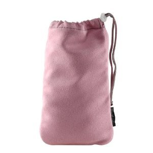 T-Mobile OEM Multipurpose Pink Micro Fiber Vertical Pouch with Drawstring for Storing Car Charger, Travel Charger, PDAs and Cellphones