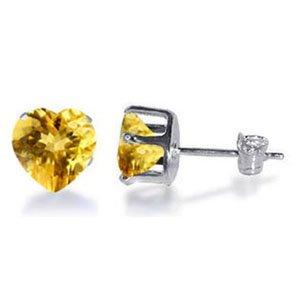 TDEZ2210-Y Nickel Free Sterling Silver 7mm Heart Citrine Cubic Zirconia Post Back Stud Earrings
