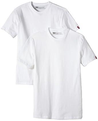 Levi's® - T-Shirt Col Ras du Cou - Pack de 2 - Slim - Uni - Homme - Blanc/Blanc - XS