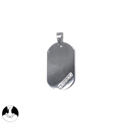 SG Paris Pendant Steel 316L Steel Oxyde Zirconium Transparent/Crystal Pendant/Charm Pendant Stainless Steel The Essential Man Hom-Actua The Essential Military Plate