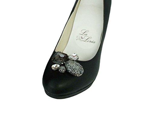 """La Loria - Donna Clip Decorative Per Scarpe """"Black Star"""" Gioielli, Spille, le clip del pattino in colore nero,trasparente,argento - 1 Coppia"""