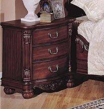 Roundhill Furniture Saillans Solid Wood Construction Fully Assembled Night Stand, Cherry Finish front-760055
