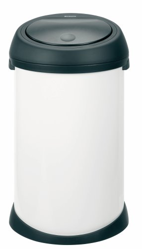 Brabantia Touch Bin, 50 Litre, White with Black Lid