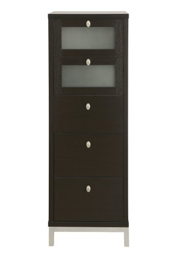 Enitial Lab Keller 5-Drawer Chest With Tempered Glass, Cappuccino