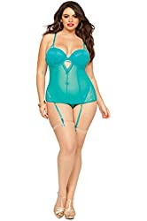 Seven Til Midnight Women's Plus-Size Teal Appeal Mesh and Lace Bustier and Thong