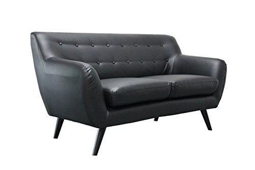Fine Mid Century Modern Tufted Bonded Leather Loveseat In Color Short Links Chair Design For Home Short Linksinfo