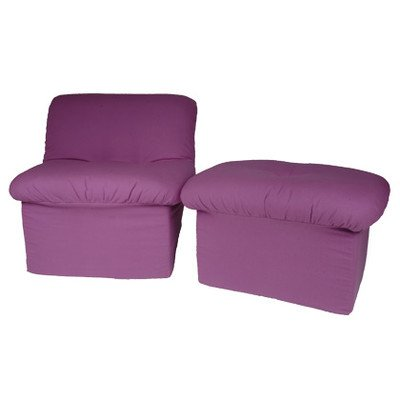 Chenille Teen Cloud Chair and Ottoman Set Color: Purple Canvas