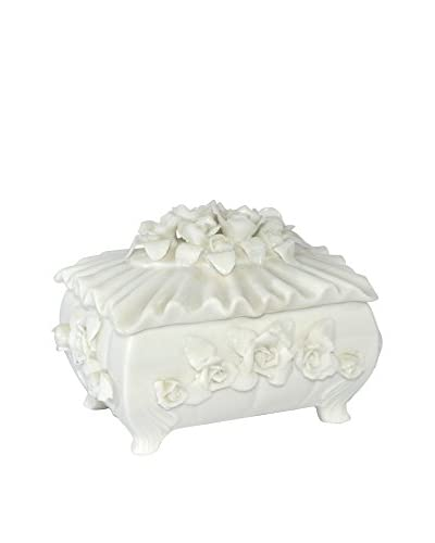 Uptown Down Porcelain Jewelry Box, White