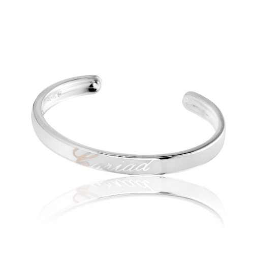 Clogau Gold Sterling Silver White Enamel Bangle with Rose Gold 'C'
