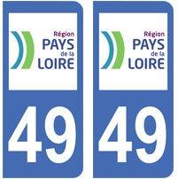 2-autocollants-49-Maine-et-Loire-plaque-immatriculation-dpartement-auto-49-angles-arrondis