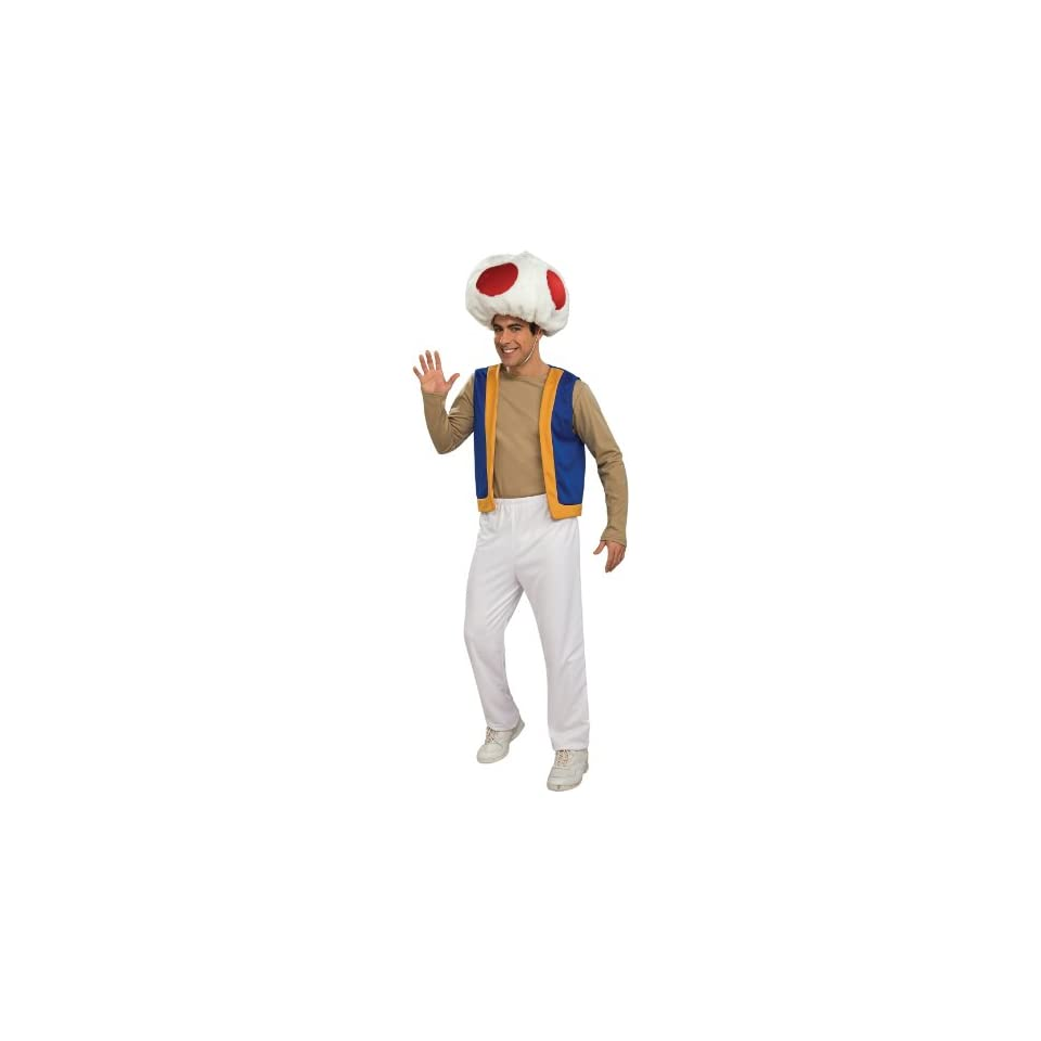 Lets Party By Rubies Costumes Super Mario Bros.   Toad Adult Costume / Red   Size X Large