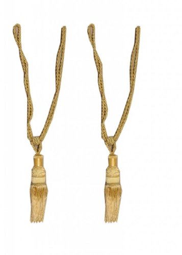 Homefab India Set of 2 Beautiful Golden Curtain Tie Backs (Tassels) (ACC010)