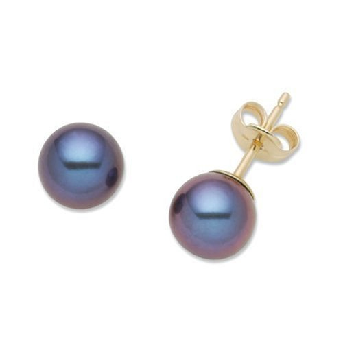 Gold Earrings, 18ct Yellow Gold, Dark Blue Pearl Studs, by Miore-Joven, MA97EY