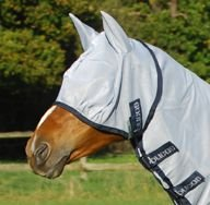 Bucas Buzz Off Fly Mask - Size:Small Color:Silver/Navy Trim
