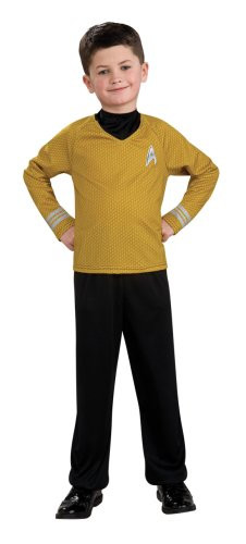 Star Trek Movie Child's Gold Shirt Costume with Dickie and Pants, Medium