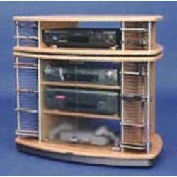 "Classic and Convenient Swivel TV DVD VCR Cart (Beech/Metal) (22""H x 33.5""W x 30.7""D)"