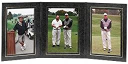 PRESIDENTIAL Triple 5x7 Black leatherette stock photo frame w/gold foil border sold in 2\'s - 5x7