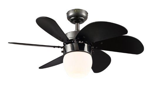 Westinghouse Lighting 7226100 Turbo Swirl CFL Single-Light 30-Inch Six-Blade Indoor Ceiling Fan, Gun Metal with Opal Frosted Glass