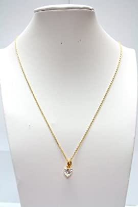 Cubic Zirconia Heart Pendant on Gold tone Necklace Chain