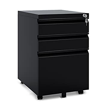 "DEVAISE 3 Drawer Metal File Cabinet with Lock in Black (15.4"" W x 19.7"" D x 23.6"" H)(New Style-Black)"