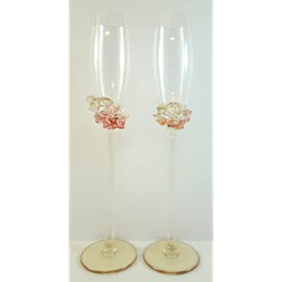 Ion tamaian pink champagne flutes set of 2 hand blown art glass martini glasses - Hand blown champagne flutes ...