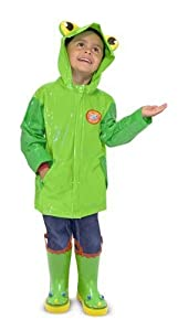 2 Item Bundle: Melissa & Doug 6297 Soggy Froggy Kids' Raincoat + Free Activity Book
