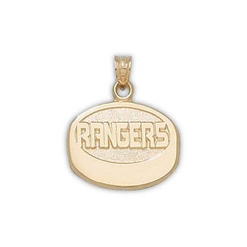 New York Rangers 10K Gold RANGERS Puck Pendant